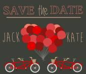 Cartolina d'auguri con una bicicletta — Vettoriale Stock