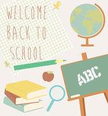Volta para o cartão da escola — Vetor de Stock