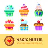 Cupcakes and muffins — Stock Vector