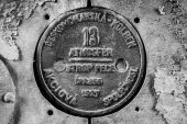 Old round locomotive plate — Stock Photo