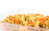 Raw fusilli pasta - three colors — Stock Photo