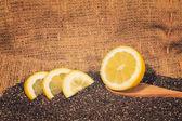 Chia seeds with lemon slices — Stock Photo