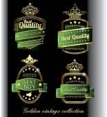 Vintage golden black premium quality labels — Vector de stock