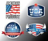 American made in usa retro vintage old school labels — Stock Vector