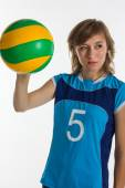Young  sport woman with volleyball ball isolated — Foto Stock