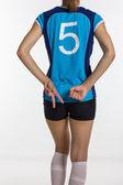 Kobieta młody sportowe z Piłki Siatkowej na białym tle — Zdjęcie stockowe