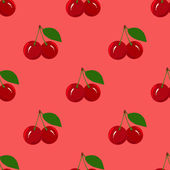 Seamless Pattern with Juicy Ripe Cherry Fruit — Stock Vector
