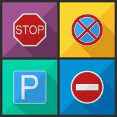 Road signs in a flat design — Stock Vector