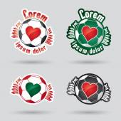 Classic football (ball) logo with heart in the middle — Stock Vector