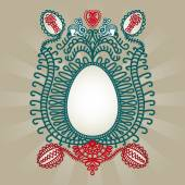 Easter greeting card with folk art inspiration. — Stock Vector