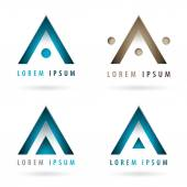 Set of dynamic logos with arrow or triangle shape — Stock Vector