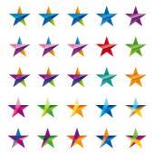 Crystalline star logo set — Stock Vector