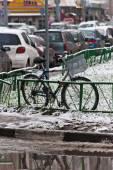 Estacionó la moto en invierno en Moscú — Foto de Stock