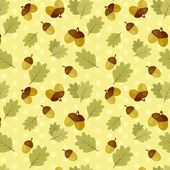Seamless fall pattern with oak leaves and acorns — Stock Vector