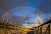 Zakim Bridge under a rainbow — Stok fotoğraf