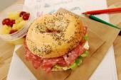 School lunch series: salami bagel sandwich — Stock Photo