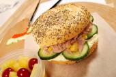 School lunch series: tuna bagel sandwich — Stock Photo