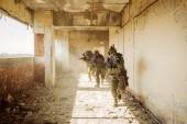 Rangers stormed the building occupied by the enemy — Stock Photo