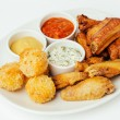 Barbeque pork spare ribs, Cheese Ball and  chicken wings — Stock Photo #68093755