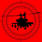 Silhouette of a helicopter in the sight of the rocket launcher — 图库矢量图片