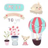 Spring is coming Vector Set — Stock Vector