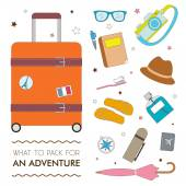 What to pack for an adventure — Stock Vector