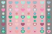 Pink background with heart and two ribbons — Stok Vektör