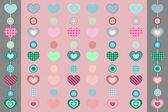 Kalp ve iki şeritler ile pembe arka plan — Stok Vektör
