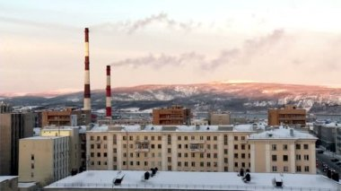 Murmansk industrial morning landscape with pipes and hills — Stock Video