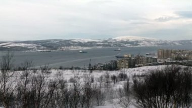 Bay near the city of Murmansk and ships — Stock Video