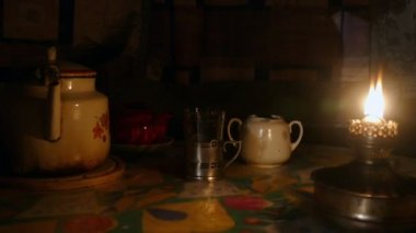 Kerosene lamp and tea kettle — Stock Video