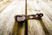 Rusty Old Padlock on Door — Stock Photo