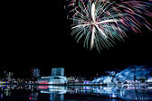Downtown Umea, Sweden with Fireworks — Stock Photo