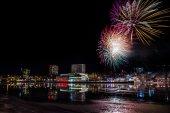 Fireworks over City Skyline — Stock Photo