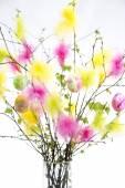 Ostern-Zweige mit bunten Federn und Eier — Stockfoto
