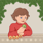 Boy changes the figures from 2014 to 2015 — Stock Vector
