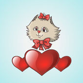Valentines cat with hearts — Stock Vector