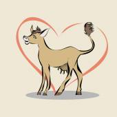 Cow on the background of heart — Stockvector