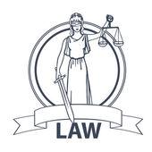 Femida goddess of justice illustration. — Stock Vector