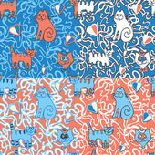 Seamless doodle pattern with crasy cats. — Stock vektor