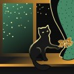 Cat sitting on a windowsill — Stock Vector #67063827