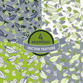 Set of seamless leafy patterns — Stock Vector
