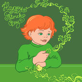 Red-haired boy in a green shirt with shamrock. — Stock Vector