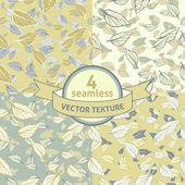 4 seamless vector leafy texture — Stock Vector