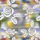 Blurred seamless wavy pattern with roses.  3D vector abstract background. — Stock Vector