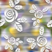 Wazig naadloze golvenpatroon met rozen. 3d-vector abstracte achtergrond. — Stockvector