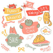 Set of hand drawing cat with banner logo vector. — Stock Vector