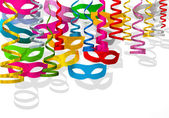 Party streamers with carnival mask colorful — Stock Photo