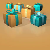 Gifts brown gold — Stock Photo