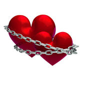 Valentine's Day hearts connected chain union — Stock Photo
